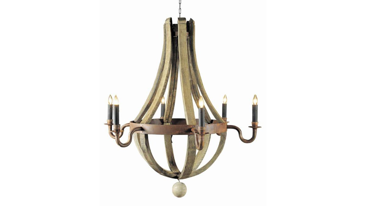 BoBo Intriguing Objects' rustic 6-candle chandelier is made from bent wood salvaged from old wine barrels.