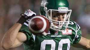 Saskatchewan Roughriders slotback Chris Getzlaf can't hold on to a pass during the third quarter of CFL football action at Mosaic Stadium on Saturday July 30, 2011 in Regina. The Stampeders beat the Riders 22-18. THE CANADIAN PRESS/Liam Richards