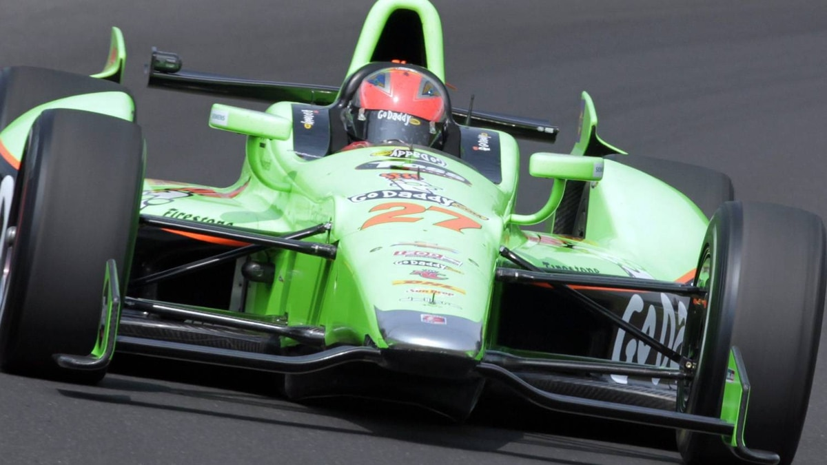 IndyCar driver James Hinchcliffe, of Canada, drives through the first turn on the final day of practice for the Indianapolis 500 auto race at the Indianapolis Motor Speedway in Indianapolis, Friday, May 25, 2012. The 96th running of the race is Sunday. (AP Photo/AJ Mast)