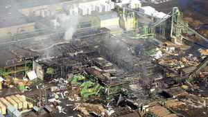 A View of Lakeland Sawmill explosion site seen from a helicopter in Prince George, B.C., Tuesday, April 24, 2012.