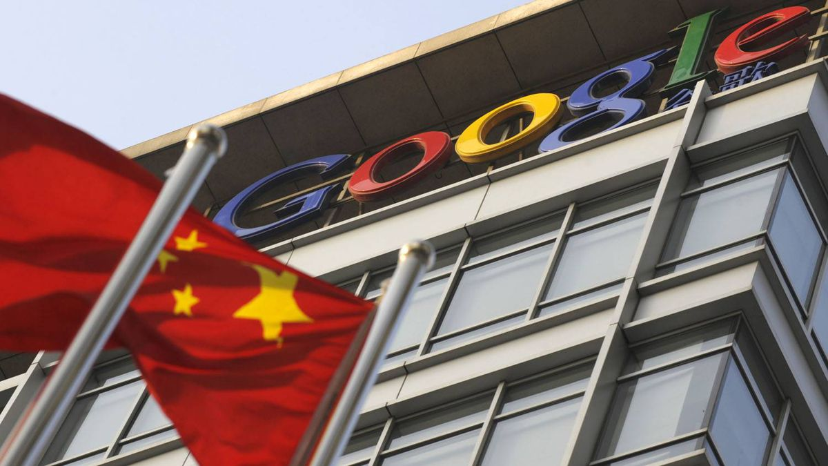 A January 2010 file photo shows a Chinese flag in front of Google offices in Beijing. Liu Jin/AFP/Getty Images