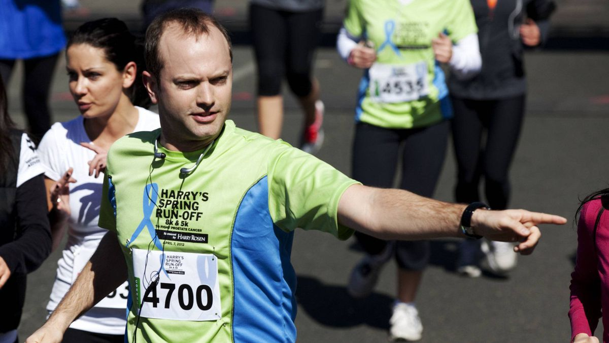 Mike Layton, a Toronto city councillor and son of former NDP leader Jack Layton, takes part in Saturday's Harry's Spring Run-Off.