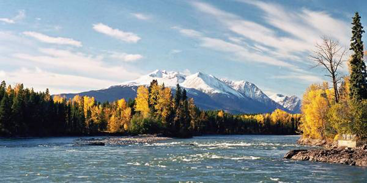The Bulkley Valley, taken from the Village of Telkwa. The mountain in the background is Hudson Bay Mountain, which overlooks Smithers, B.C. The river is the Bulkley River, which is a world renowned fly fishing river and part of the Skeena River system.