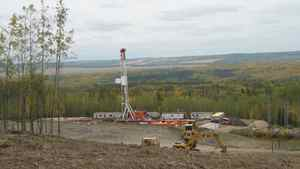 Ensign drilling at Storm Exploration Inc.'s Montney site.