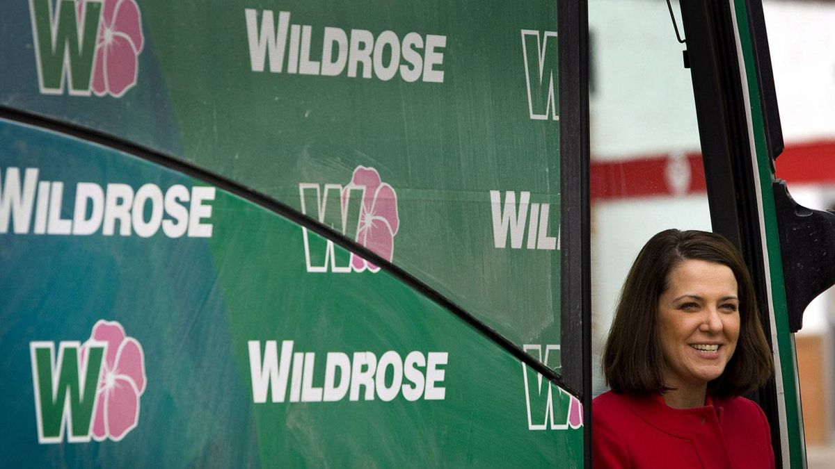 Wildrose leader Danielle Smith gets off her campaign bus as she makes a stop in Vulcan, Alta., Friday, April 6, 2012. Albertans go to the polls on April 23.