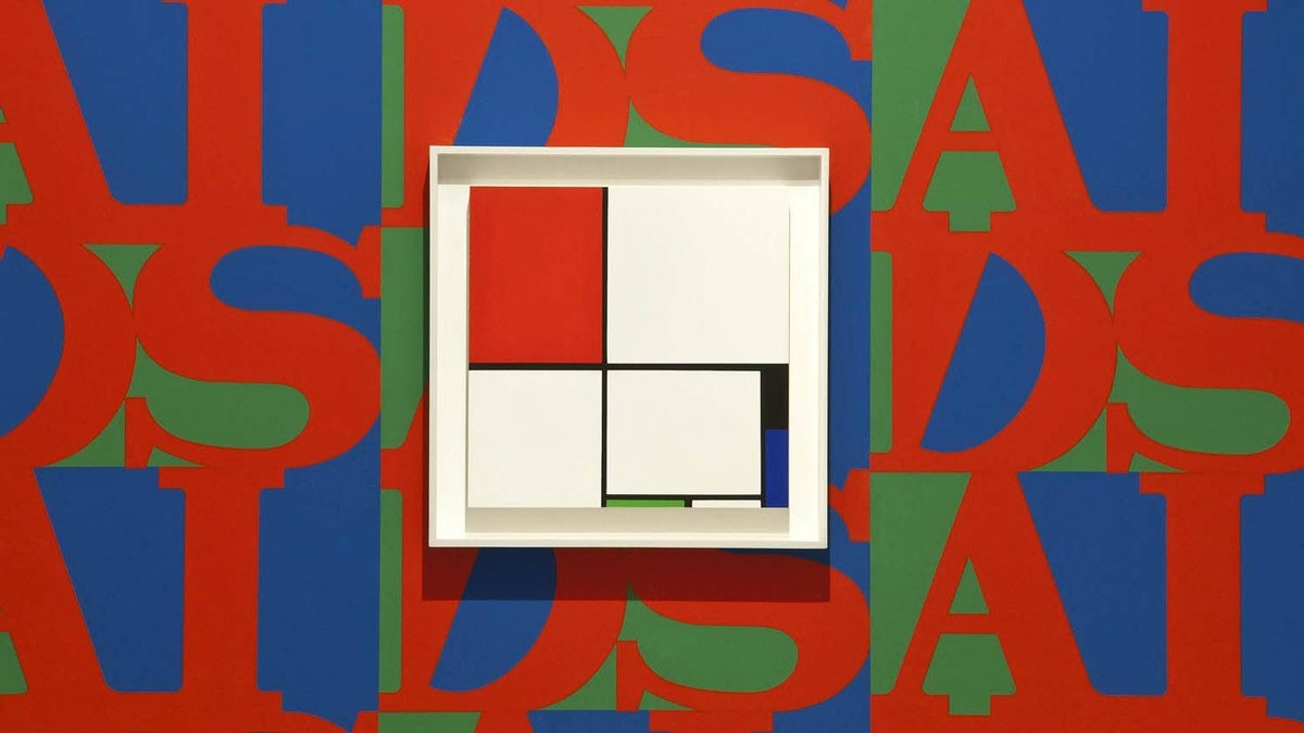 Foreground: Infe©ted Mondrian no. 6 (installation view) 1994 Acrylic on gatorboard 45 x 45 cm Collection of Franco and Barbara Noero Wall: AIDS (installation view) 1987 silkscreen wallpaper various dimensions.