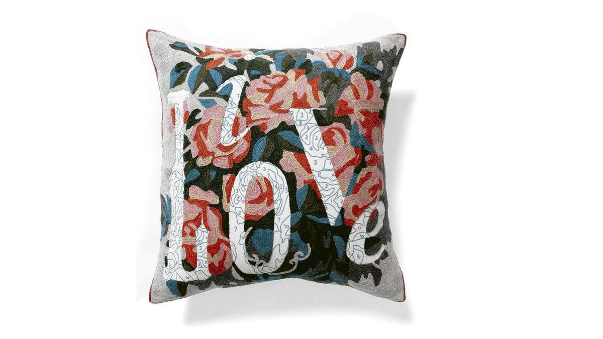 Anthropologie's romantic Live Love Pillow features wool crewelwork roses in American artist Trey Speegle's signature paint-by-numbers style. $78 through www.anthropologie.com.