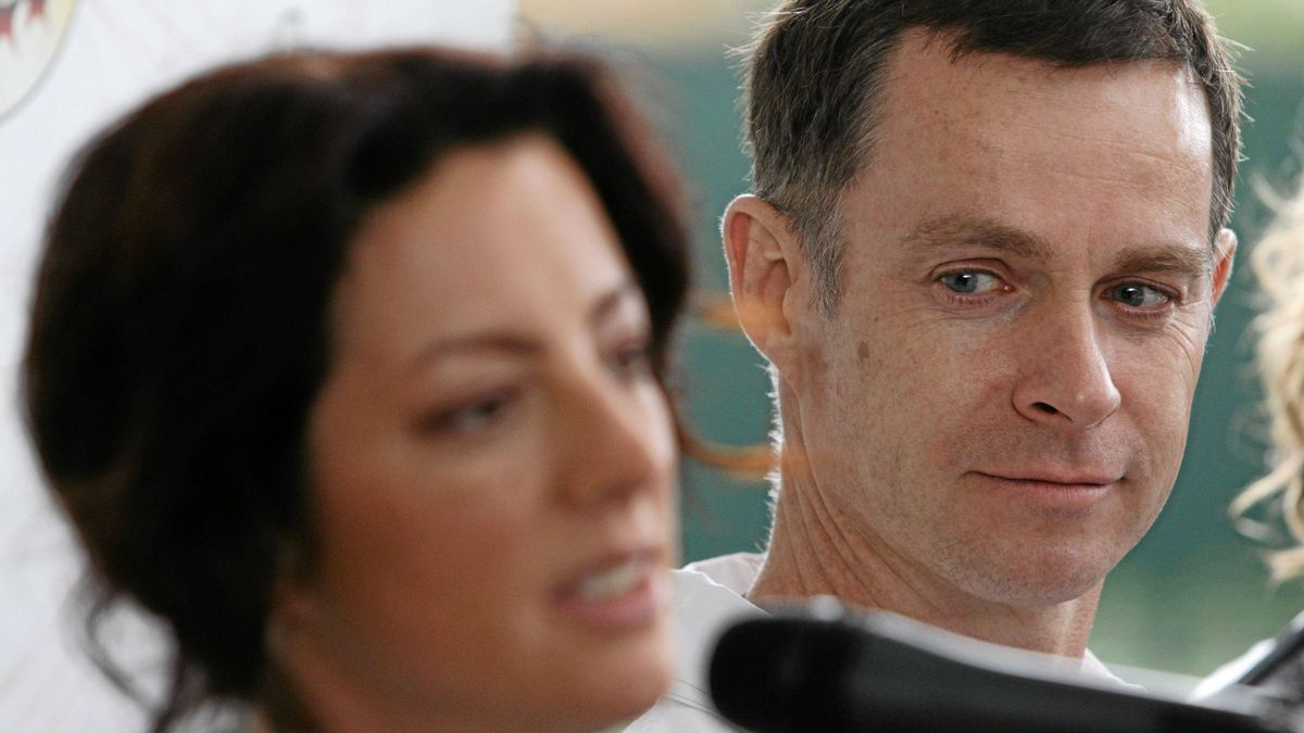 Terry McBride, right, looks on as Sarah McLachlan speaks during a news conference before performing at Lilith Fair in West Vancouver, B.C., on Thursday July 1, 2010.