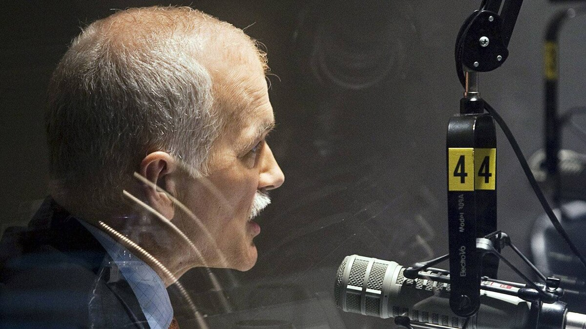 NDP Leader Jack Layton does a radio interview in Montreal on April 26, 2011.
