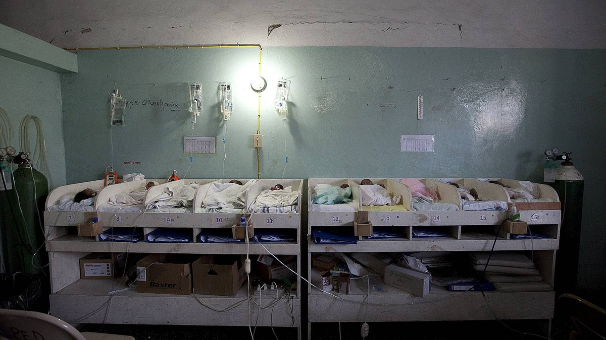 Sick and premature babies line the wall in the neonatal unit in the maternity ward at Isaie Jeanty Maternity Hospital run by Medecins sans Frontieres in Port-au-Prince, Haiti. The hospital, also called the baby factory delivers approximately 50 babies a day.