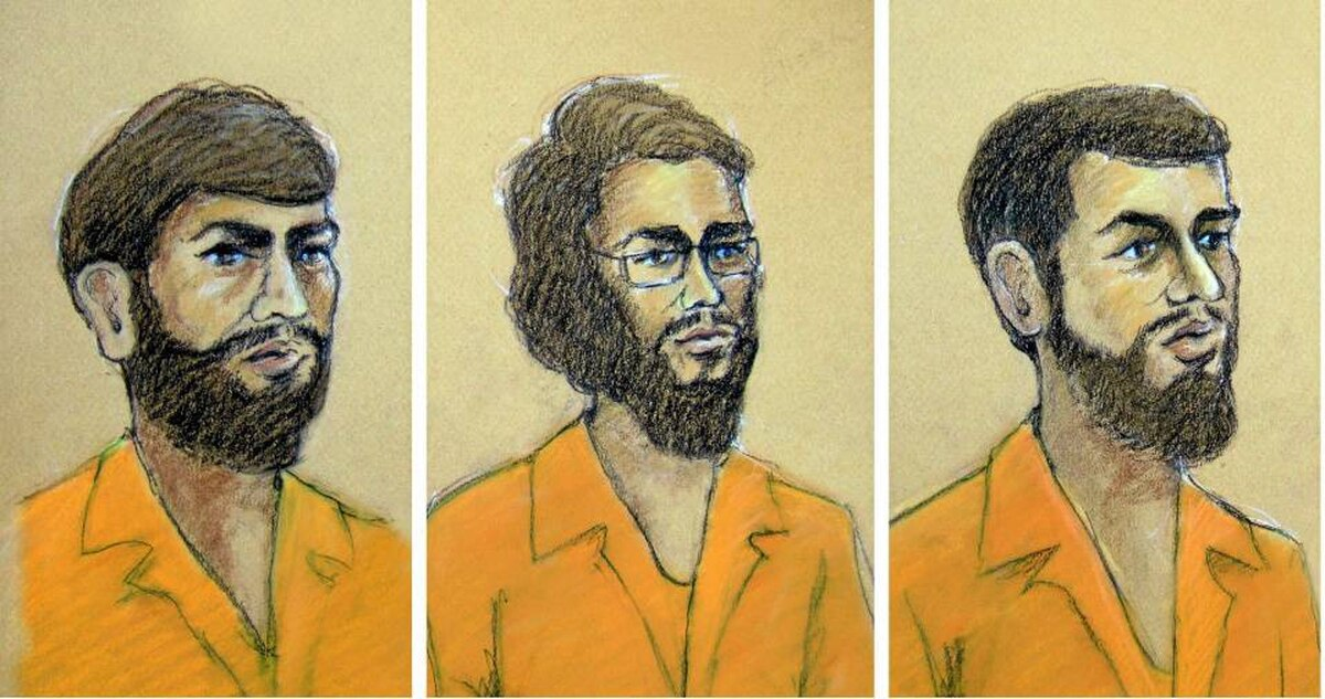 A combination of courtroom sketches. From left: Misbahuddin Ahmed, Hiva Mohammad Alizadeh, both of Ottawa; and Khurram Syed Sher, of London, Ont.
