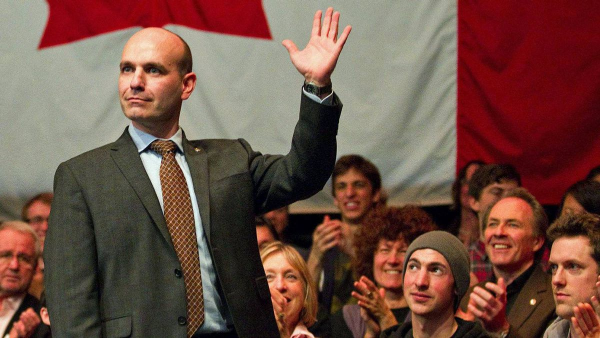 B.C. MP Nathan Cullen waves to supporters after the final NDP leadership debate in Vancouver on March 11, 2012.