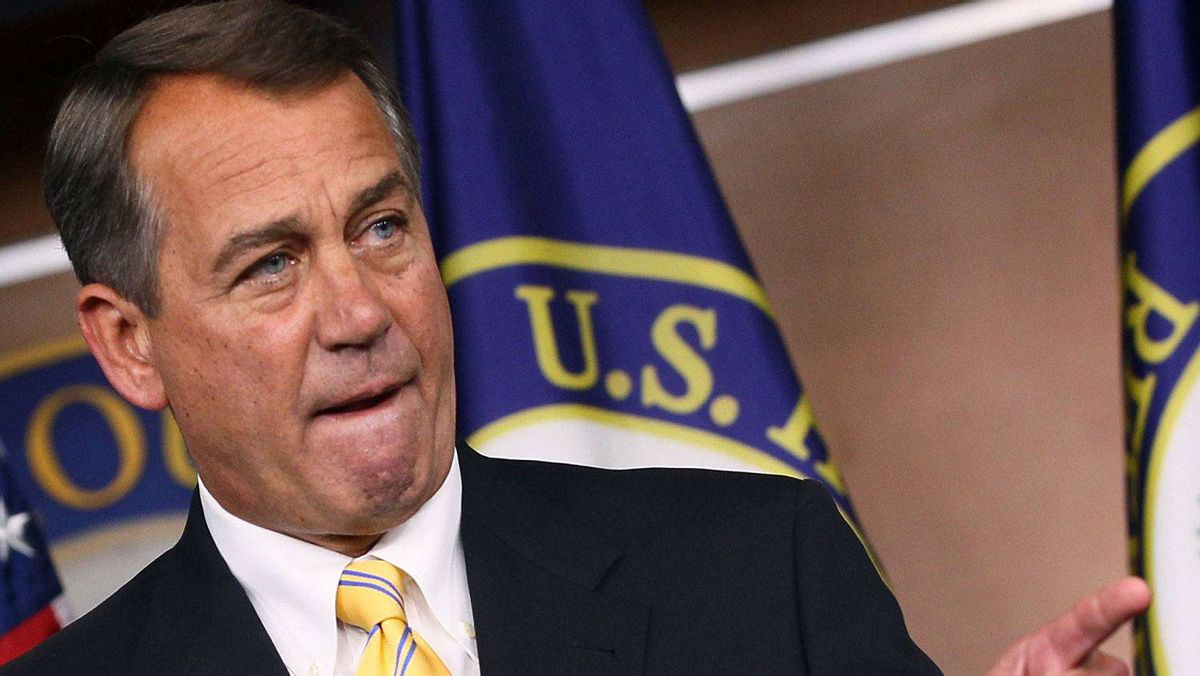 House Speaker John Boehner (R-OH) conducts his weekly news conference at the U.S. Capitol, on July 21, 2011 in Washington, DC.