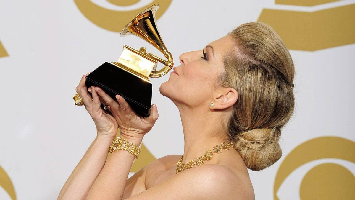 Joyce DiDonato celebrates backstage with the award for best classical vocal solo for Diva Divo.
