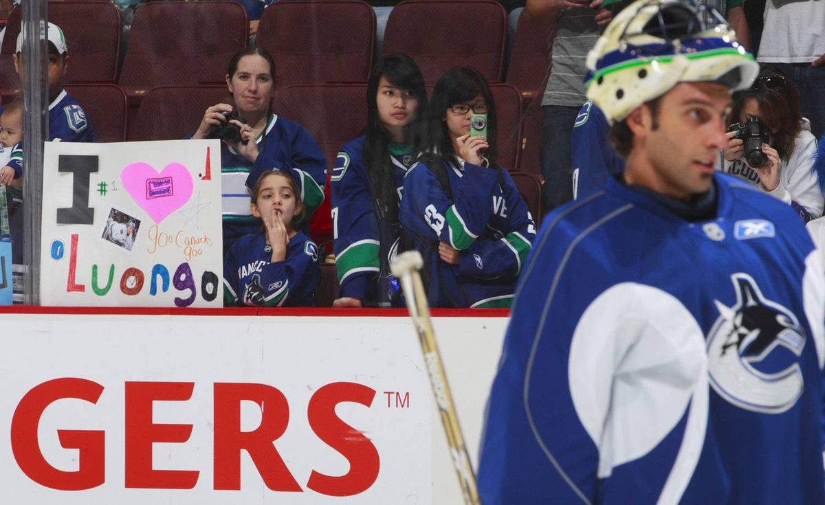 A fan shows her support for Vancouver Canucks goaltender Roberto Luongo during a practice at Rogers Arena October 3, 2010 in Vancouver. Jeff Vinnick-The Globe and Mail