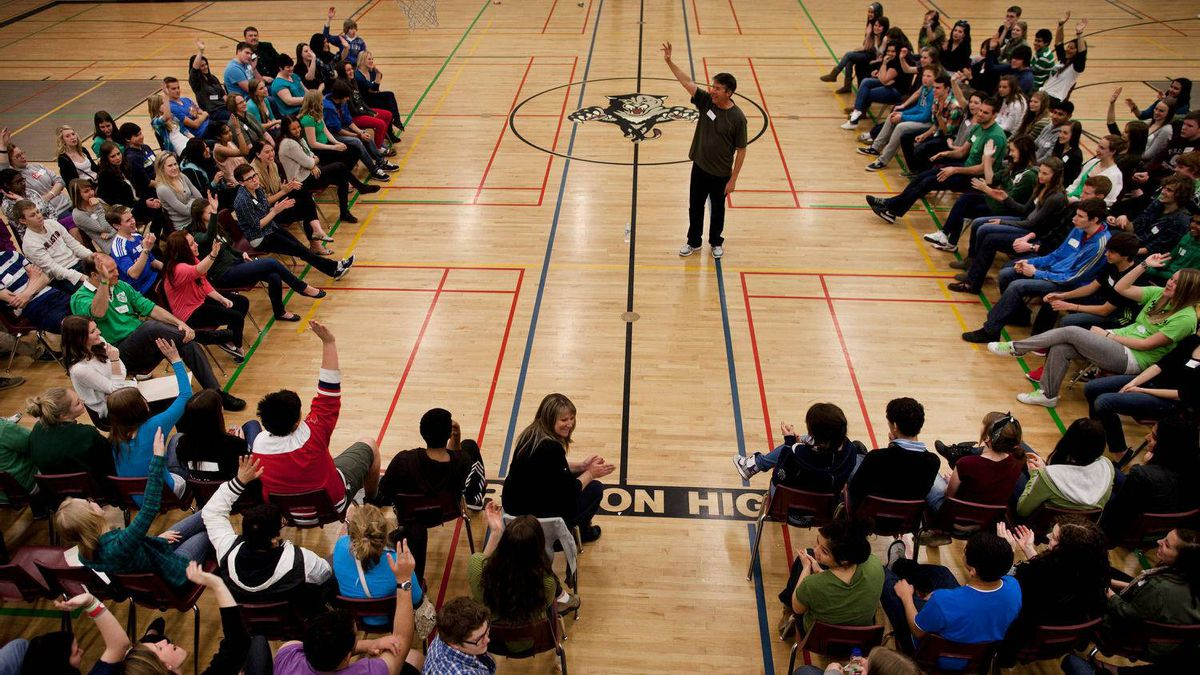 Students at Preston High School in Cambridge, ON participate in a day-long anti-bullying program presented by Phil Boyte Apr. 25, 2012.