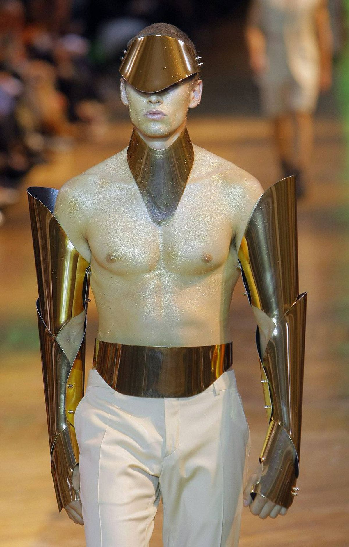 A model wears a creation by collection designer Sebastien Peigne for the Mugler men's spring-summer 2012 collection, part of Paris Fashion Week, Wednesday, June 22, 2011.