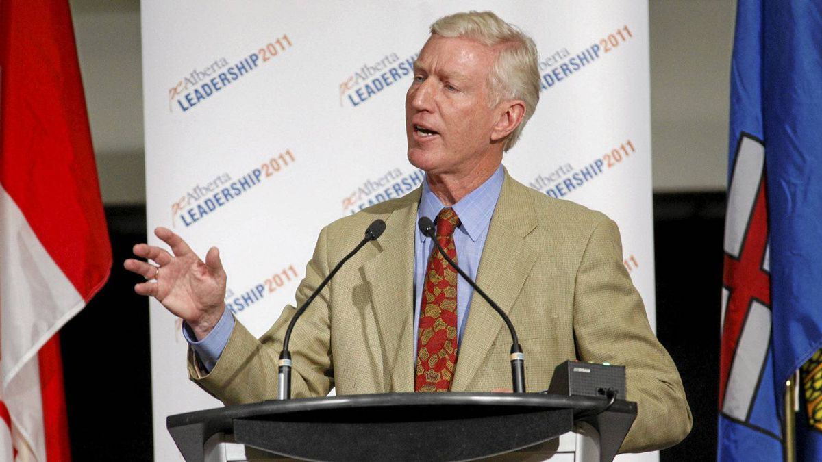 Candidate Ted Morton delivers his opening remarks during an Alberta PC Party leadership debate in Calgary, Alta., Wednesday, Sept. 7, 2011.