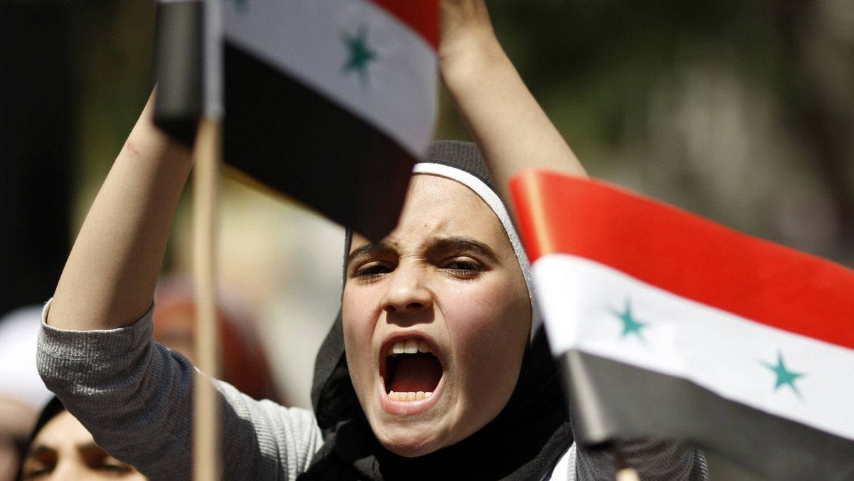 A Syrian living in Turkey shouts slogans during a protest against the government of Syria's President Bashar al-Assad after Friday prayers in front of the Syrian consulate in Istanbul August 19, 2011.