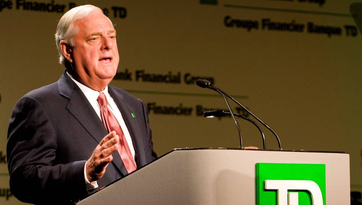 Toronto-Dominion Bank chairman John Thompson speaks at the company's annual meeting in Saint John, N.B., on Thursday, April 2, 2009. THE CANADIAN PRESS/Mark Hemmings