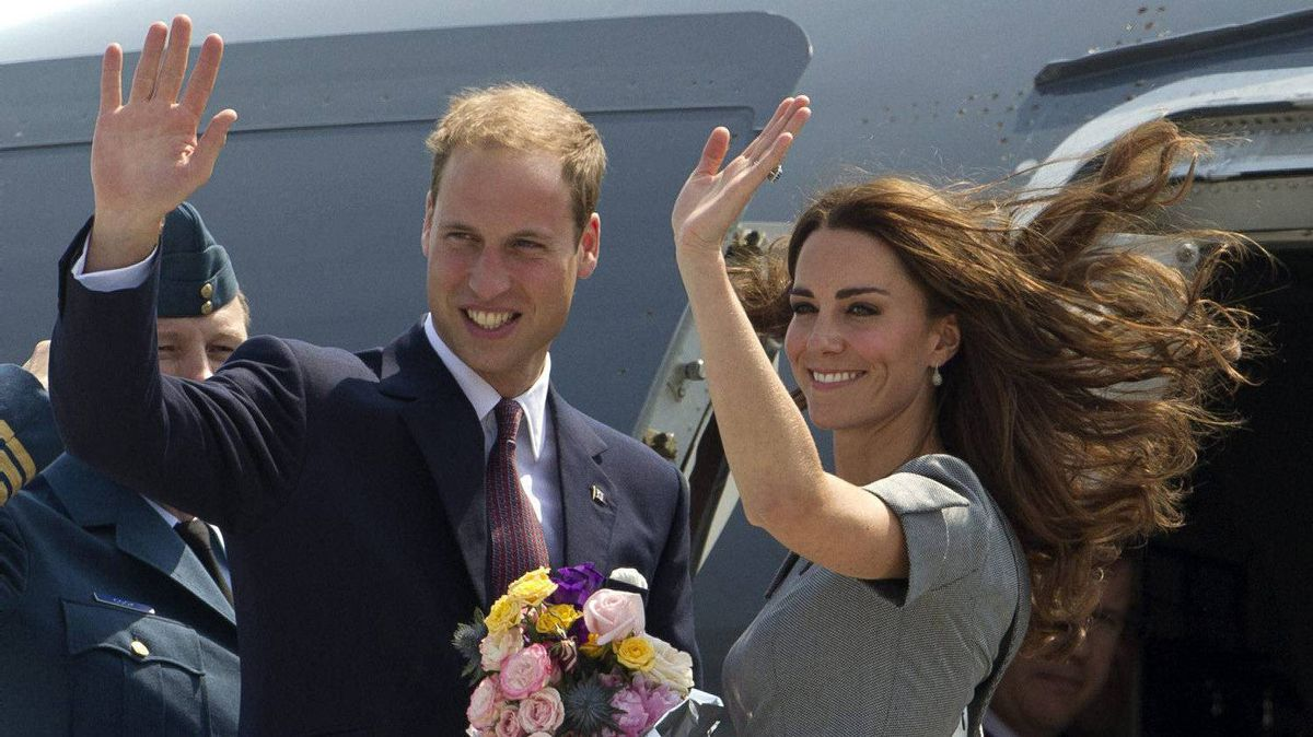 Prince William and Kate, the Duke and Duchess of Cambridge, wave as they board their plane as they leave Ottawa, Ontario , en route to Montreal as they continue their Royal Tour of Canada Saturday, July 2, 2011.