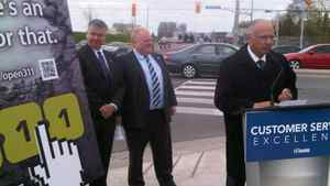 Toronto Mayor Rob Ford at an event to unveil an app to report potholes in Toronto on April 27, 2012.