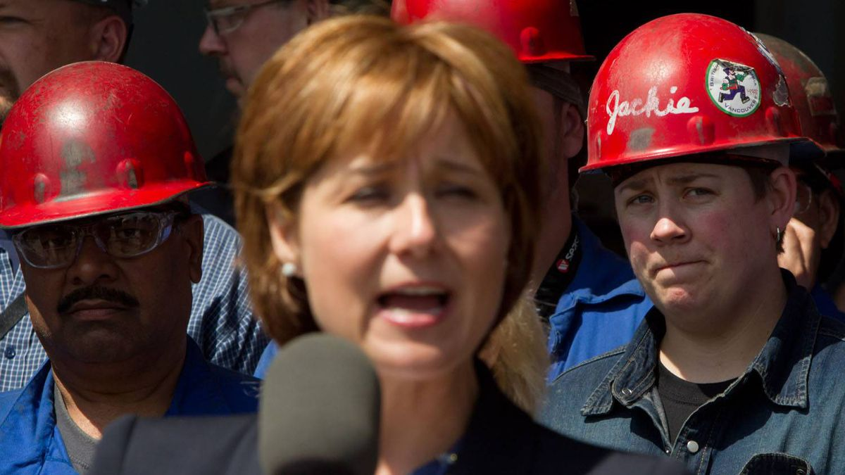 Christy Clark at Seaspan Shipyards in North Vancouver, on Tuesday June 7, 2011.