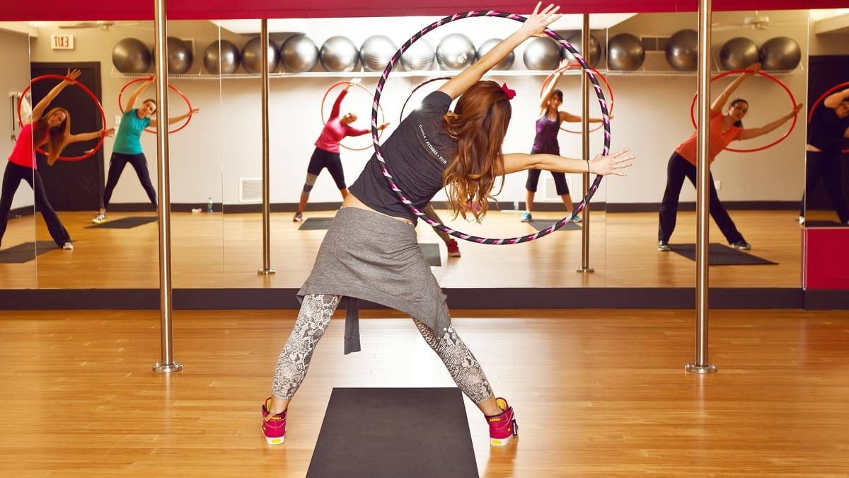 Angela Mahoney leads the Hoola Hoop Fitness class at Sugarfoot fitness studio in Toronto.