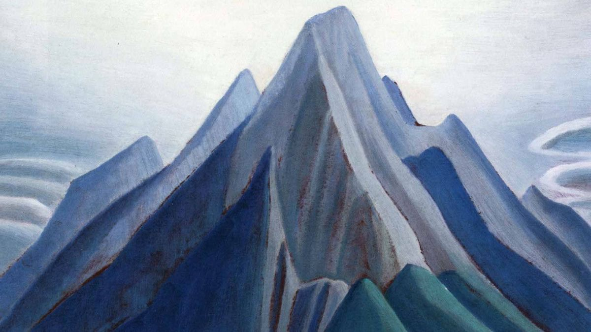 "Detail of Lawren Harris's ""Mountain Sketch XCI (Mountain on the Athabasca River)""; oil on board. Expected to go for as much as $600,000, it remained unsold at a Sotheby's auction in Toronto on May 24, 2012."