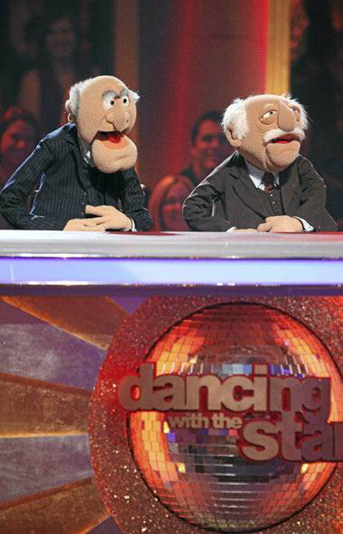 "Statler and Waldorf from the cast of Disney's ""The Muppets"" on ""Dancing with the Stars the Results Show."""