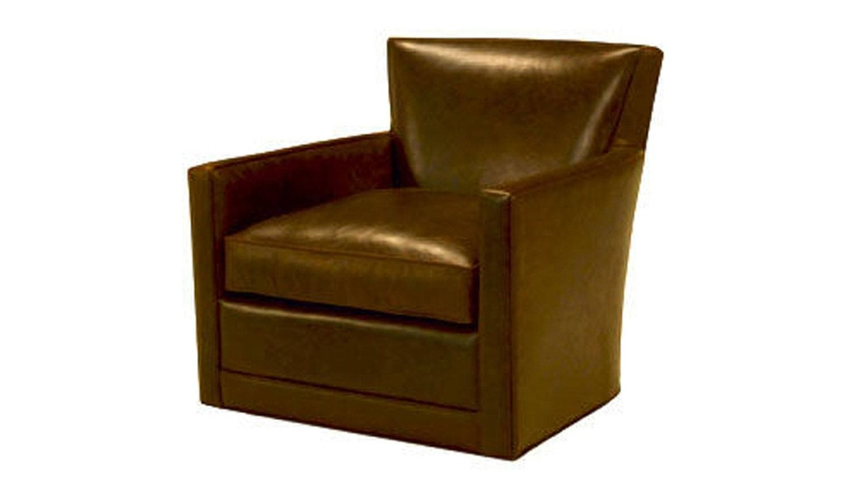 The Art Shoppe's Libby Swivel Chair also features a rocking mechanism and is available in a range of leathers and fabric upholstery. $1,599 through www.theartshoppe.com.