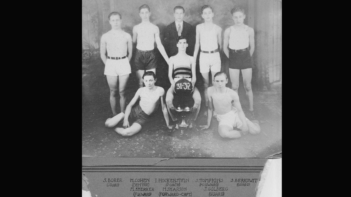A photo of their 1931-32 basketball team - Sam Borer and Milton Cohen the first two on the left.