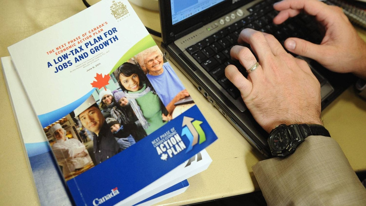 A copy of the federal budget at the media lockup before its official release on June 6, 2011.
