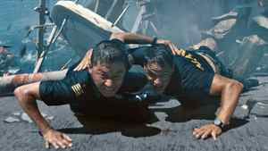 "Tadanobu Asano (left) and Taylor Kitsch in a scene from ""Battleship."""