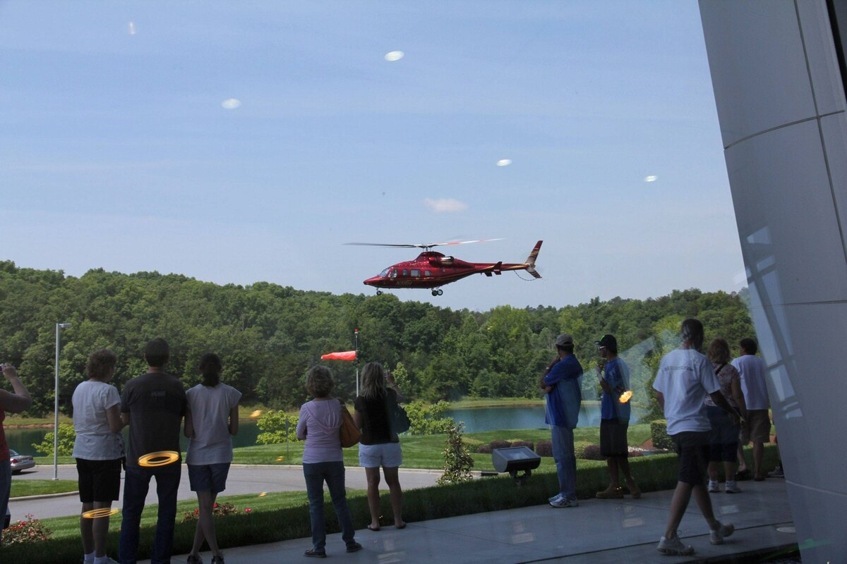 Hendrick Motorsports executives arrive at the team's headquarters near Charlotte, North Carolina in the company's custom-painted Bell 430 helicopter. The Hendrick racing stable includes NASCAR stars Jimmie Johnson and Jeff Gordon.