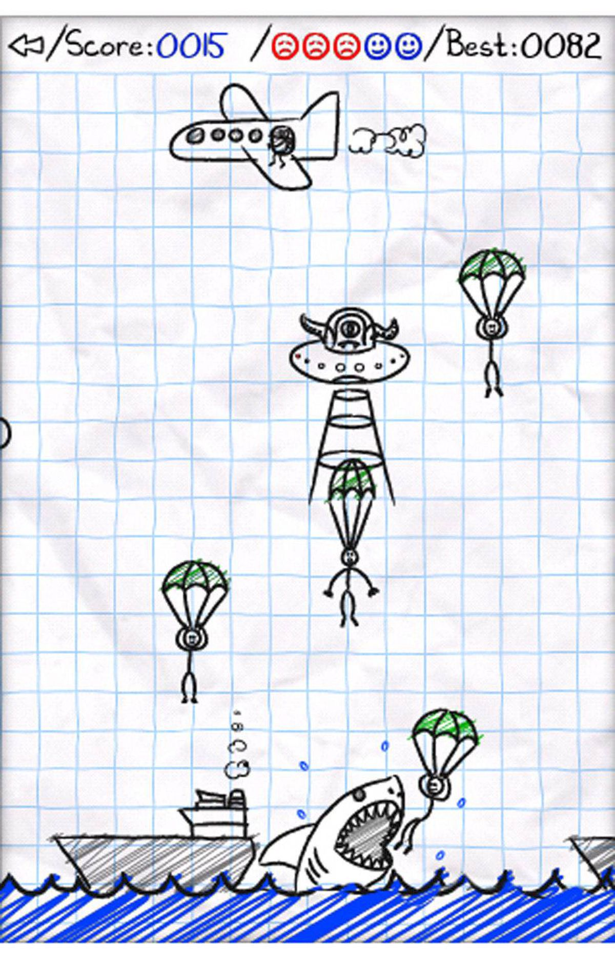 "Parachute Panic HD (iPad) The charming hand-drawn graphics, great sound effects and bouncy music make this a game you will want to play and share with others. The object of the game is to guide parachutists safely past UFOs, helicopter blades, and thunder clouds to the deck of the ships below. Aim carefully or your guys may be eaten by sharks or attacked by blowfish. Everything about this game is fun. If you need to be convinced, download the ""Lite"" version first for free, then spend the $1.99 once you love it."