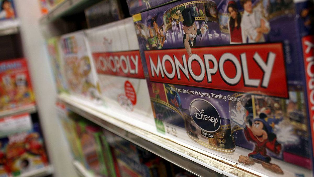 The iconic board game Monopoly by toymaker Hasbro is displayed at a toy store on April 14, 2011 in New York City.