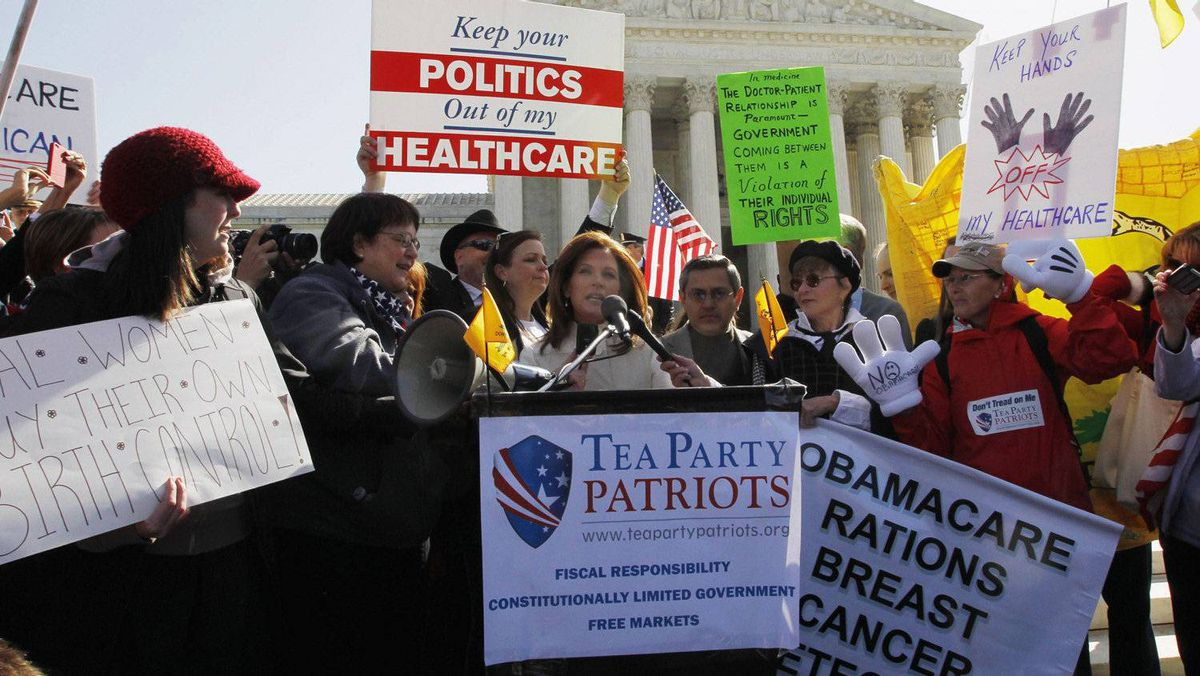 U.S. Congresswoman Michele Bachmann (R-MN) speaks outside the Supreme Court in Washington, March 27, 2012, during the second day of legal arguments over the Affordable Care Act at the Supreme Court in Washington.