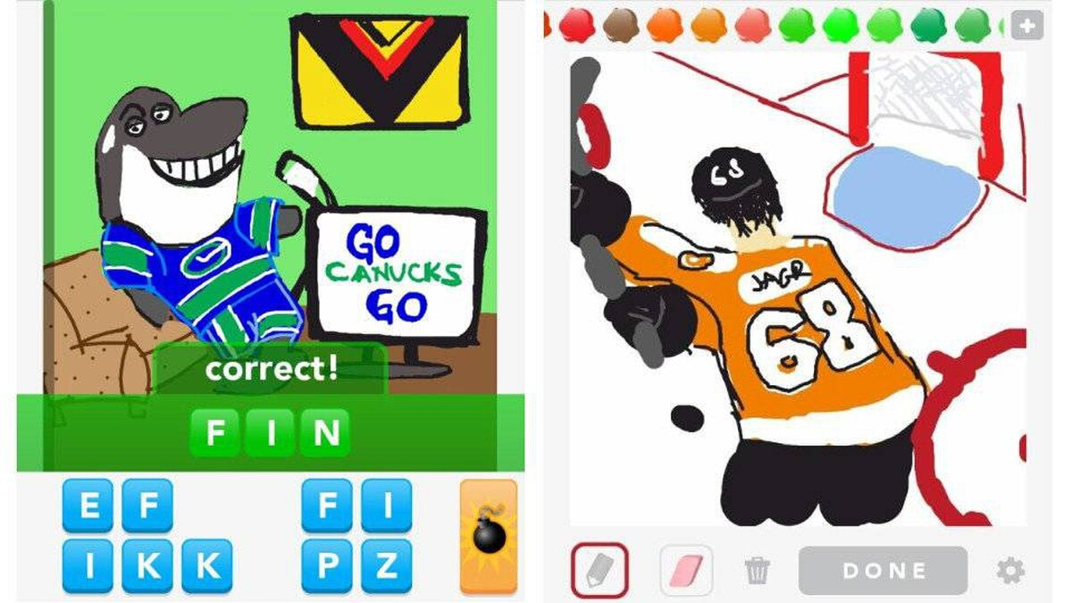 Diabolical or clever? Social game takes player submissions of hockey-themed pictures in a new advertising deal with the NHL, as seen in these screenshots from the leagues's Pinterest page
