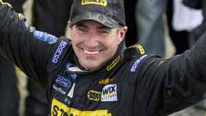Stanley Ford driver Marcos Ambrose from Australia celebrates his victory at the NAPA Auto Parts 200 NASCAR Nationwide race Saturday, August 20, 2011 in Montreal. THE CANADIAN PRESS/Paul Chiasson