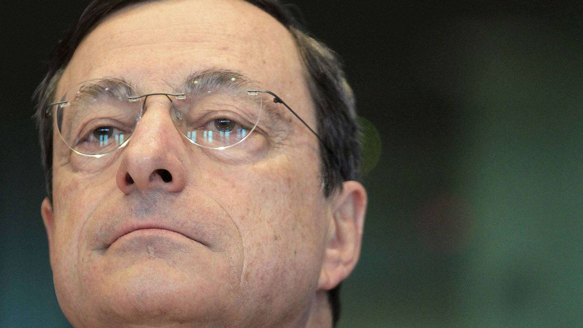 European Central Bank (ECB) President Mario Draghi addresses the European Parliament economic and monetary affairs committee in Brussels April 25, 2012.
