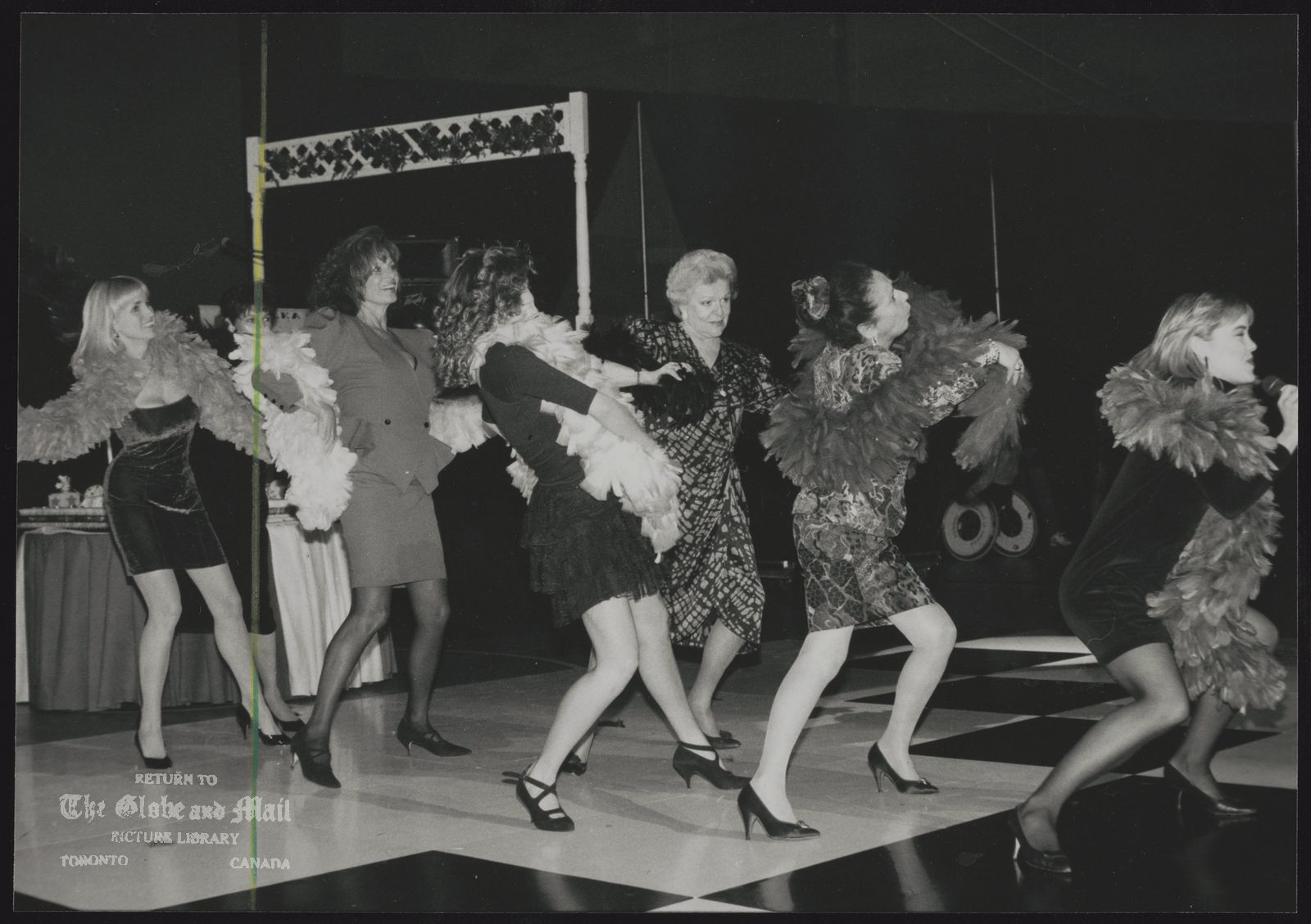 VARIETY VILLAGE (Toronto) Trend toward hiring professionals to help raise money has been eliminated or reduced. At Variety Village party two dancers (second from left and far right) were interspersed with celebrity volunteers Micki Moore (far left), Maureen Forrester and socialite Valerie Fine.