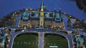 """At dawn on Nov. 28, 2011, the opening day of the UN climate summit in Durban, South Africa, Greenpeace took to Parliament Hill in Ottawa to brand the Harper government a """"climate fail"""" of epic proportions."""