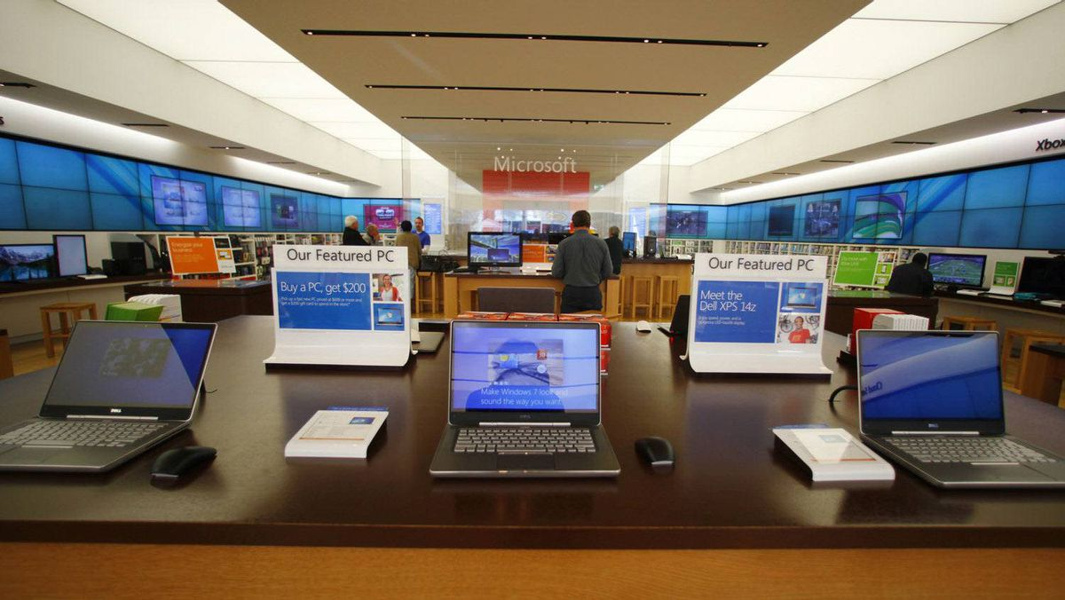 The interior of a Microsoft retail store is shown in San Diego, Jan. 18, 2012.