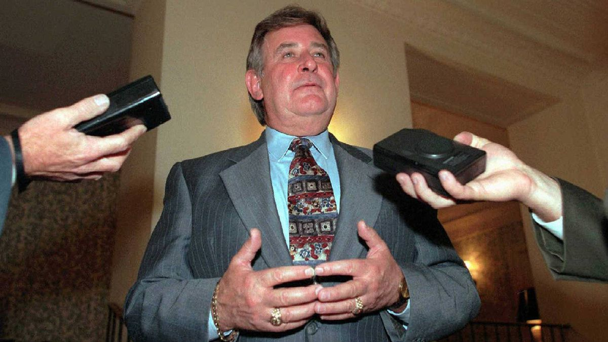 Mr. Klein speaks to reporters following a luncheon at the residence of the Canadian consul general in New York on Sept. 23, 1996.